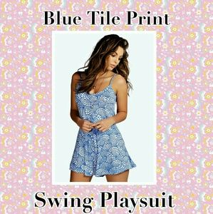 BLUE TILE PRINT PLAYSUIT